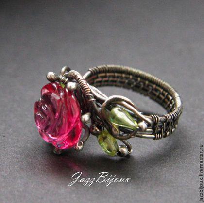 Кольца ручной работы. Серебряное кольцо   с  розой. JazzBijoux (Елена Сафронова). Интернет-магазин Ярмарка Мастеров. Серебряное кольцо, камни