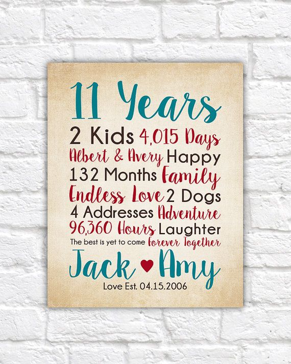11th Anniversary Gifts, choose any year - Countdown Calculations, Childrens Names, Art, Years Together, Dating, Married, Spouse Gift   WF529