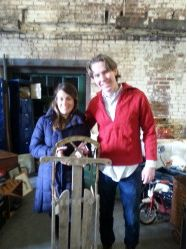 FOUND AT THE LESLIEVILLE FLEA Not far behind in the cuteness category….Brad from Fair Judy's sold a sled to this lovely lady from Australia.  Apparently there are no sleds in Australia and that of course makes them unique…….Ah…yes…I would imagine that's true. http://leslievilleflea.com/