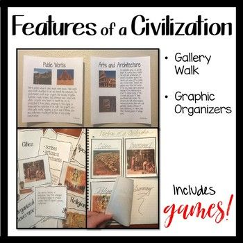 There are 8 defining characteristics of a civilization - teach them to your students in a way that engages and excites them! This lesson is designed to teach the 8 features of a civilization with a gallery walk. Students will begin the lesson with a discussion on what it means to be civilized.