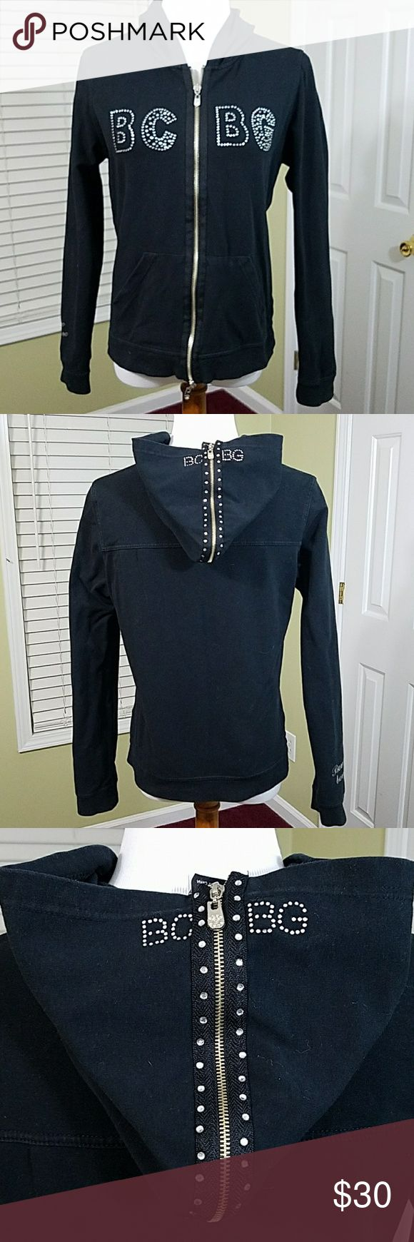 BCBG black zip up hoodie jacket with bling BCBG black zip up hoodie jacket with bling.  In good condition.  Approximate measurement shown in pictures.  Materials shown in pictures. Has Bon chic Bon genre on right sleeve. BCBGMaxAzria Jackets & Coats
