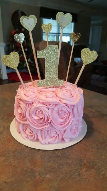 Smash cake pink and gold