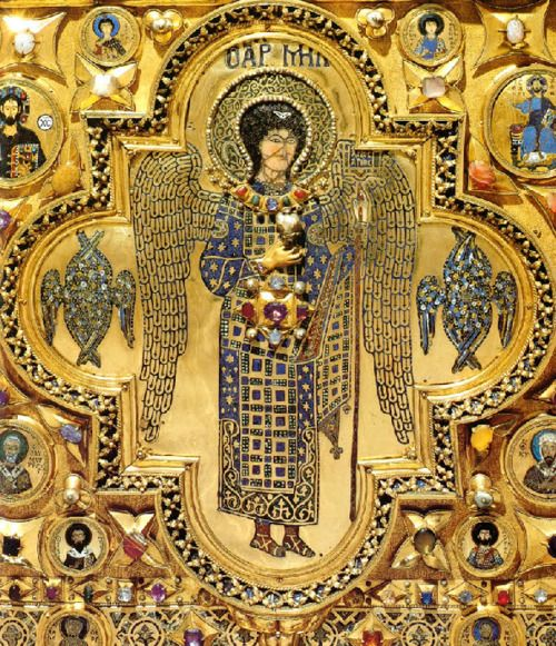Archangel Michael    Fromthe church of the Monastery of Christ Pantokrator, Constantinople, 12th cent. CE, relocated during the Fourth Crusade to the Pala d'Oro, Venice