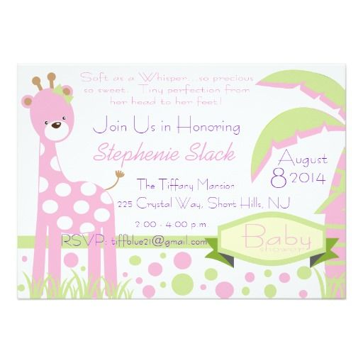 358 best pink green baby shower invitations images on pinterest baby giraffe baby shower invitation stopboris Image collections