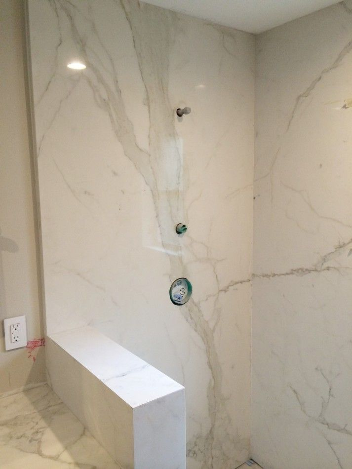 Fiandre Porcelain Slab Shower Walls Small Bathroom Remodel