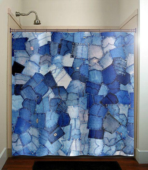 Blue Pockets Denim Jeans Shower Curtain Bathroom Decor Fabric Kids Bath Window Curtains Panels