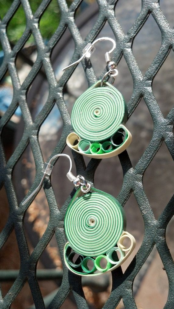 Paper Quilled Earrings Round Swirl - Shades of Green - quilling paper jewelry, paper earrings, green earrings, eco friendly, gift for her