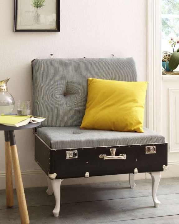 Transform an old suitcase into this chic and comfy couch. Whatever the size of your suitcase is, just attach a foam of suitable size and cover it with what