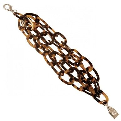 Paris Mode long chain bracelet 4 rows. Hand made in France from Cellulose Acetate derived from vegetable elements which are biodegradable and therefore environmentally friendly.