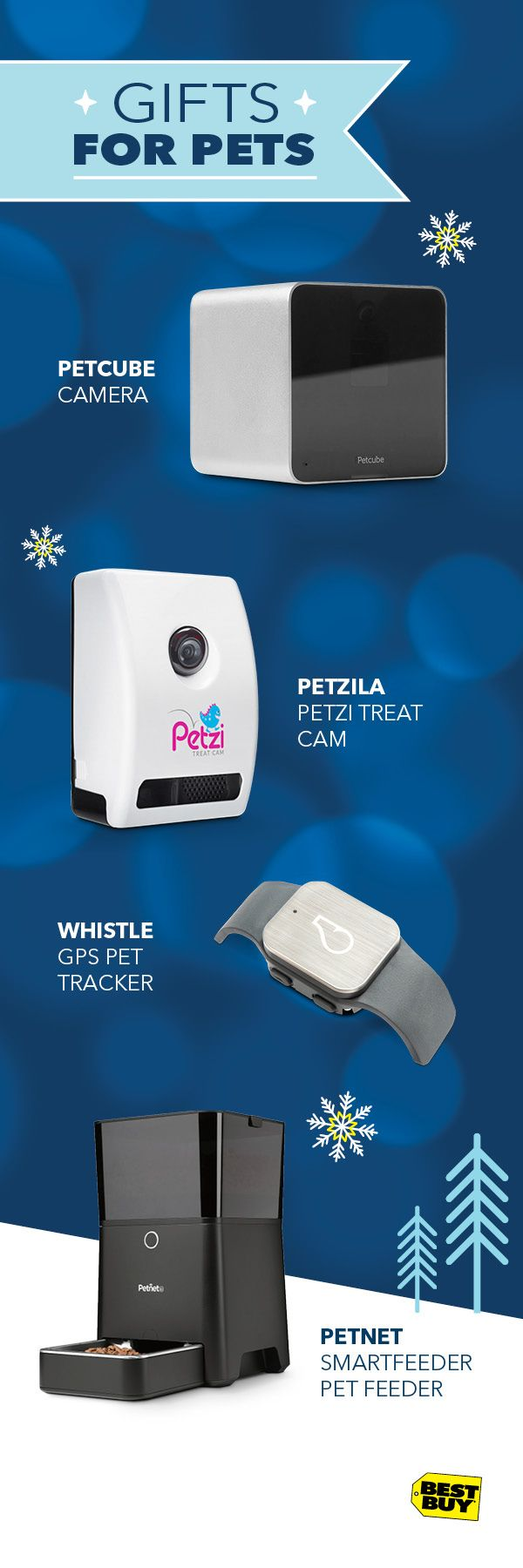 Furry friends love tech too. The Petcube Camera lets you easily monitor your pets from anywhere. With the Petzi Treat Cam you can see, speak, and even treat your pets right from your phone. Or track your pet the smart way with the Whistle Pet Tracker. And the Petnet Smartfeeder handles feeding time while you're away. Plus free shipping is the cat's meow.