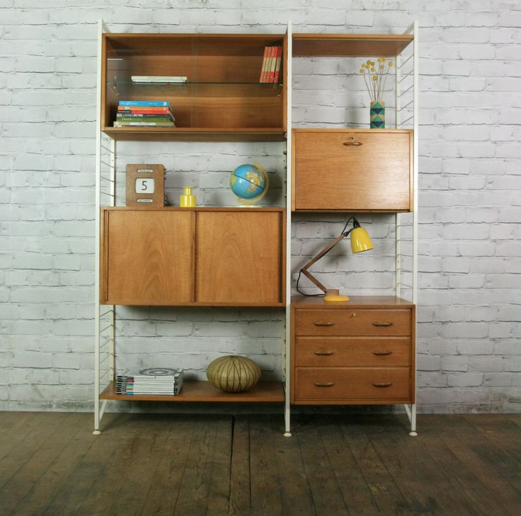 LADDERAX RETRO VINTAGE TEAK MID CENTURY WALL UNIT SHELVES OFFICE HEALS 1950s  60s