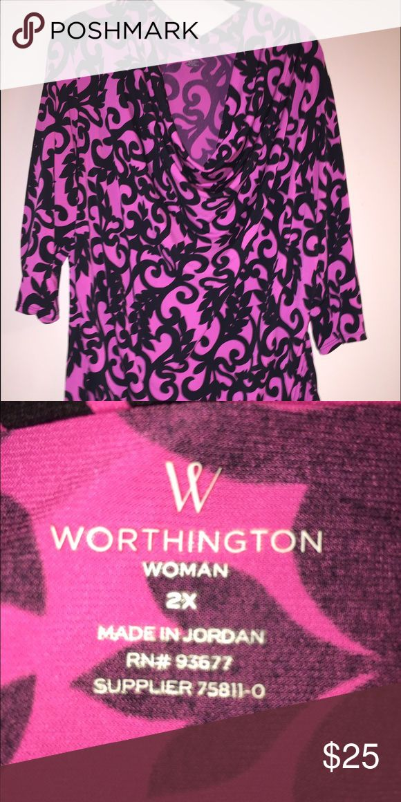 Hot Pink and Navy Blouse Reposh....Cute Hot Pink and Navy Blouse swag neckline and rushing on one side of the hemline really cute ! Bought it but never wore it. Just trying to get what I paid for it. Worthington Tops Blouses