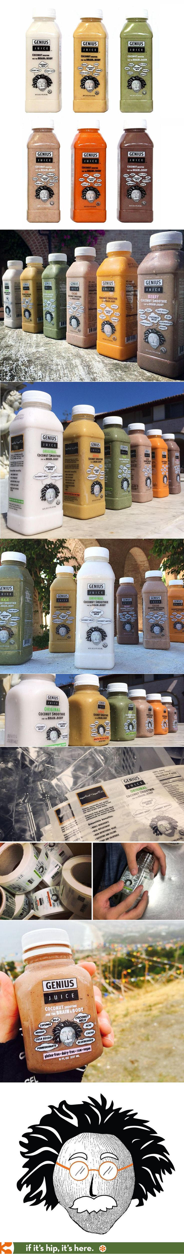 Fun package design for Genius Juice, a line of coconut based smoothies in two size bottles.