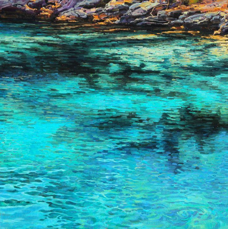 "Caroline Zimmermann Water Painting ""Turquoise Blues I"" http://carolinezimmermann.com/CZblog/water-paintings/"