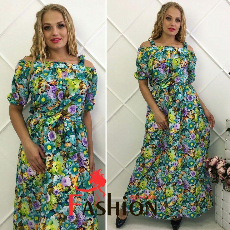 ☘1️⃣1️⃣8️⃣5️⃣руб☘ Платье с цветочным принтом с вырезом лодочка и шлейками на плечах Мод.326 Размеры: M (44-46), XL (48-50), 2XL (50-54). Цвета: синий, зеленый, красный. Материал: креп шифон.