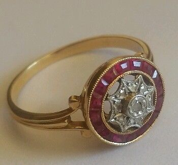 Online veilinghuis Catawiki: Oud 19210 Art Nouveau ring in 18 kt geelgoud, robijnen en diamanten