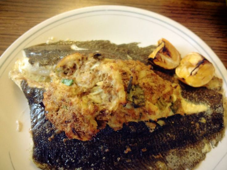 I wish the image quality was better on this one, because it was one for the ages. Oven-baked flounder stuffed with crab meat stuffing. Oh yeah.