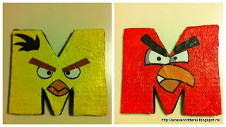 by Acasa Colt de Rai-M is for Maria (II)- TUTORIAL- How to make cardboard Angry Birds in the shape of a letter