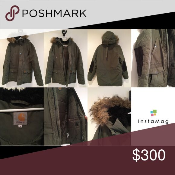 Carhartt Men's Parka Coat Carhartt men's parka. Price is firm. Used only a few times. Fur on hood is detachable. Brown suede patches on sleeves. Water repellant. Super Warm! ❄️🌬💨🌨 Carhartt Jackets & Coats