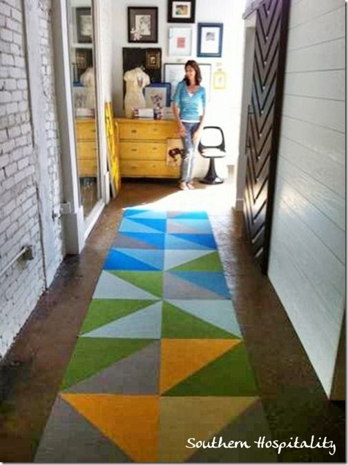 a diagonal cut prismatic runner using flor carpet tiles by wwwsouthernhospitalityblogcom - Carpet Tile Design Ideas