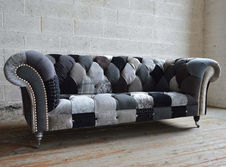 Monochrome Walton Patchwork Chesterfield Sofa