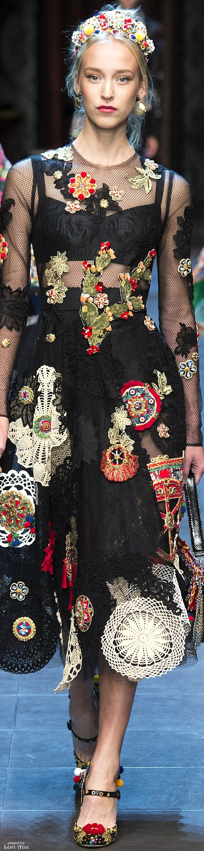 Dolce & Gabbana Spring 2016 RTW~ always inventive and creative. Colorful motto ifs give a pop of color and texture to basic black.m