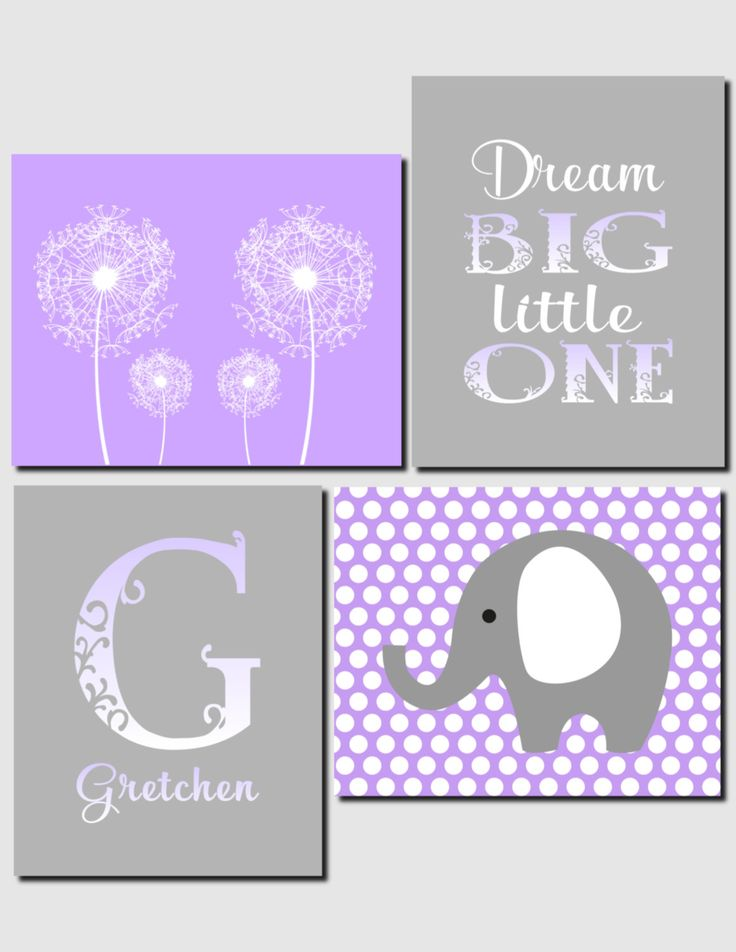 Purple Gray Lavender Dandelion Nursery Art Girl Nursery Kids Wall Art Initial Elephant Dream Big Little One Room Decor, Set of 4, Art Prints by vtdesigns on Etsy