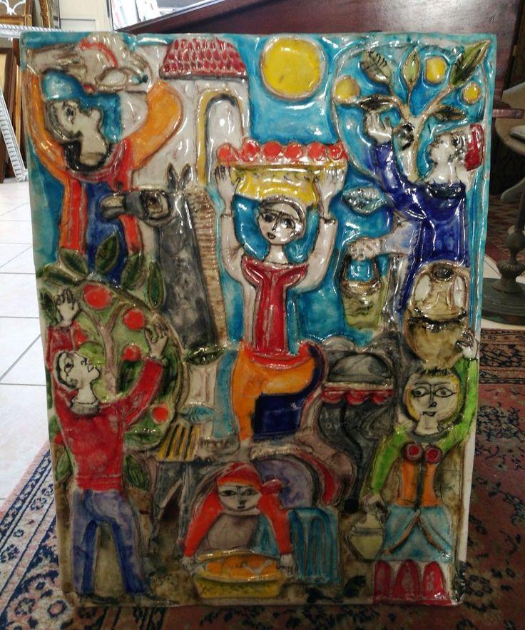 Giovanni De Simone placca in ceramica 68x50 anni 70'