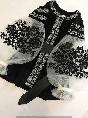 Black velvet embroidered blouse embroidered blouse with black roses velvet cool …