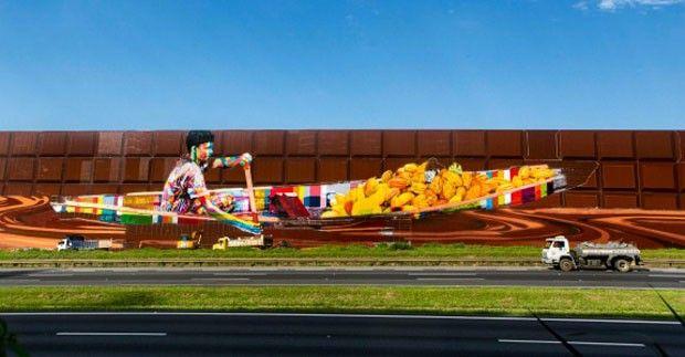 Com mais de 5 mil metros quadrados, novo painel de Kobra, em SP, é o maior do mundo (Foto: Divulgação)