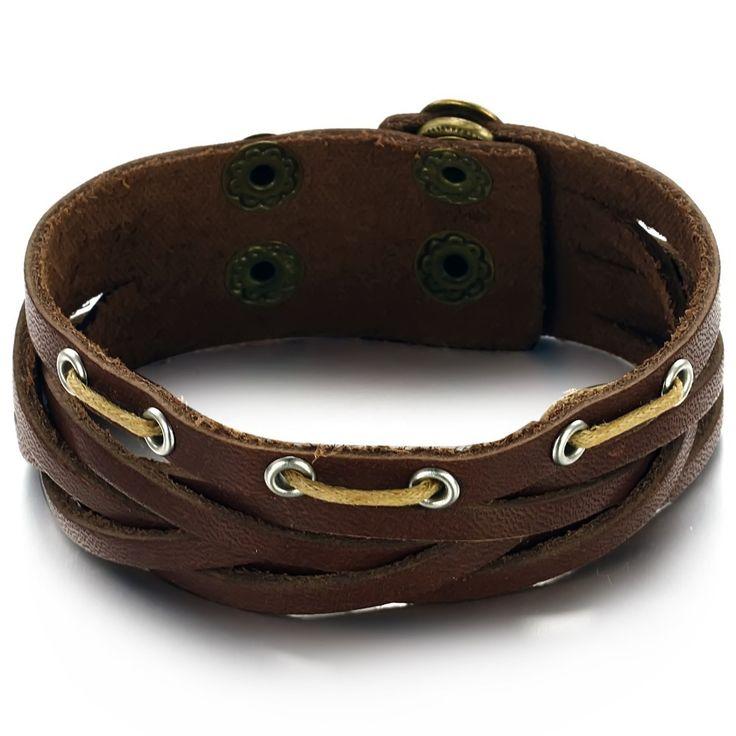 Реальной коровы кожаный браслет регулируемый браслет старинные ювелирные изделия оптовик бесплатная доставка прохладный ткачество мужчины ювелирные изделия 790