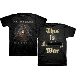 Arch 'Enemy War Eternal' Uncensored Shirt. This shirt design features the ARCH ENEMY text logo alongside a classic looking skull inside the AE ring and a pyramid