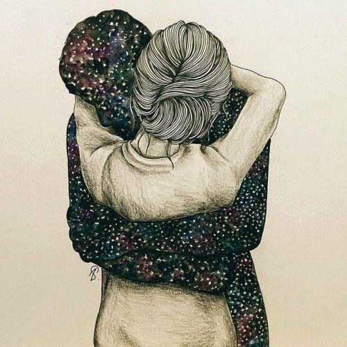 Pra mim, teu abraço é o céu. ⛎ (Ilustração Lucy Salgado)