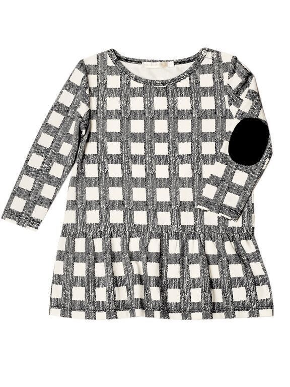 Mad About Mini's exclusive hand-illustrated Herringbone check dropped waist dress. Available from http://www.madaboutmini.com/