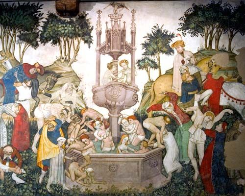 Fontana di Giovinezza, affresco della sala baronale del castello della Manta, Saluzzo(Piemonte), Italia
