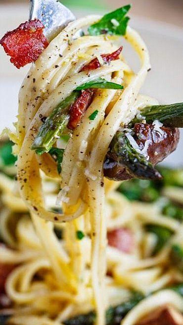 Roasted Asparagus and Mushroom Carbonara, oh my goodness