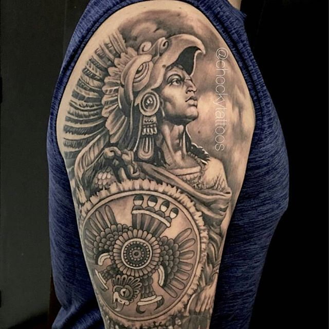 Aztec tattoo by @chockytattoos #mexicanstyle_tattoos #mexstyletats #mexicanculture #ink #tattoos #blackandgrey #azteca #aztec #aztectattoo