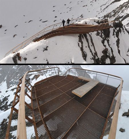 Top of Tyrol  Beautiful viewing platform located 3,000 m above sea level at the Stubai Glacier in Tyrol, Austria