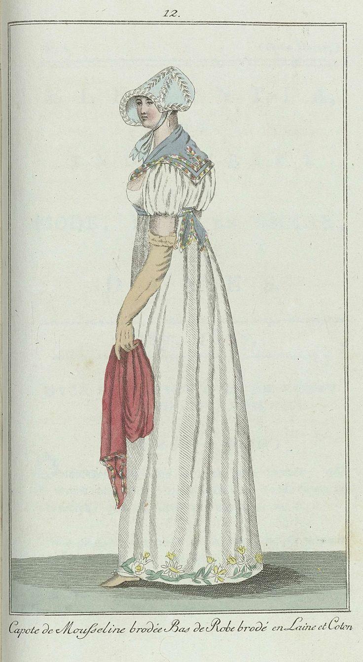 Anonymous | Elegantia, of tijdschrift van mode, luxe en smaak voor dames, Mei 1807, No. 12: Capote de Mousseline..., Anonymous, Evert Maaskamp, 1807 | Volgens de begeleidende tekst (p.160): Japon van witte katoenbatist (percale), bij de zoom bloemen 'en reliëf' van wol en dik katoen. Donkerblauwe fichu; ponceau-rode kasjmier sjaal. Hemelsblauwe capote met wit gegarneerd. Hazelnootkleurige handschoenen en schoenen.  Prent uit het modetijdschrift Elegantia, of tijdschrift van mode, luxe en…