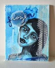 Original Mixed Media Painting - Frozen, $50