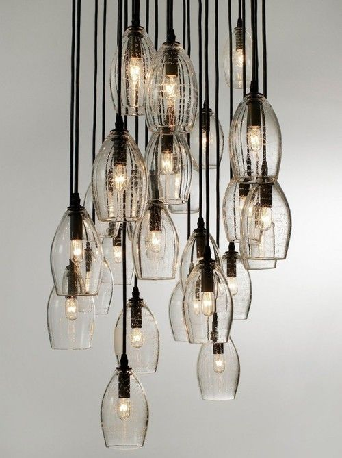 by Alison Berger Glassworks    I love mixing industrial looking items with soft notes. Try chicken coop wire for many things, like fencing in an area stringing flowers through the holes, creating a light with temporary bubls in the center of mish mashed up wire. Make a conversation piece.