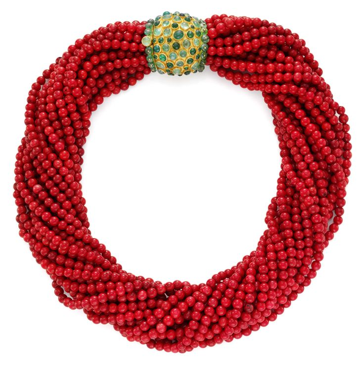 Antique Coral Torsade necklace with gold and emerald clasp,by Rene Boivin. Photo: FD Gallery.
