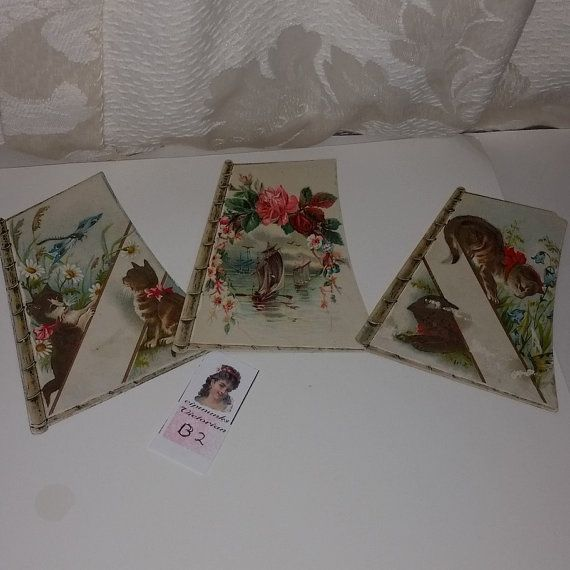 3 Victorian cards set Roses flowers cats kittens antique illustrations ephemera old paper art supplies vintage scrap B2