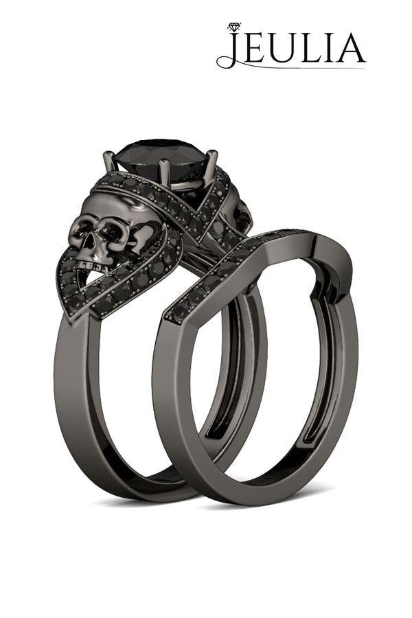 Black Gold Round Cut Created White Sapphire Rhodium Plating Sterling Silver Skull Ring #jeulia