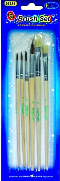 Artist Wooden Brushes, Assorted Sizes: 8, 10, 12, 6/Pack. Carded - 48 Units