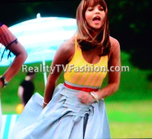 "Raquel's Jean Paul Gaultier Pleated A-line Skirt on ""Single Ladies"""