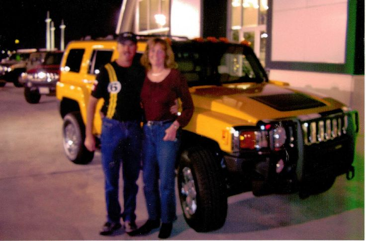 Picture #1-After evacuating from Hurricane Katrina, Bye Bye Jag, Hello Hummer! We have some telephone polls to climb! December, 2005 in Baton Rouge at Gerry Lane Hummer