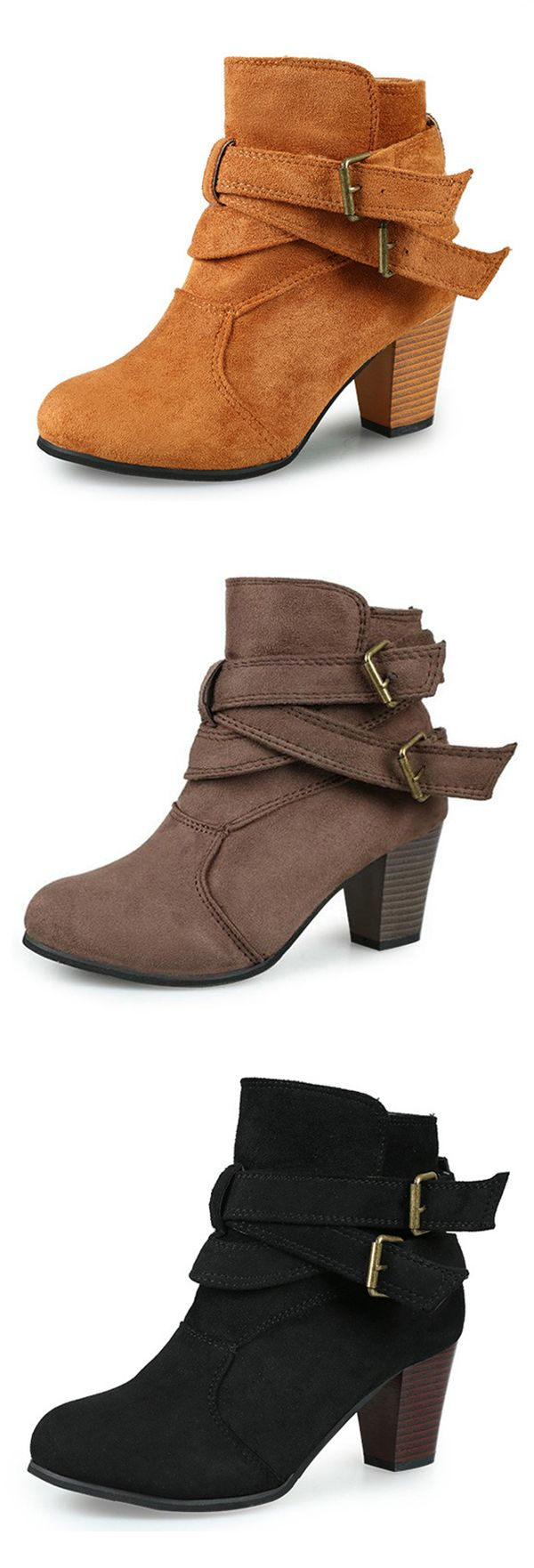 US$22.59  Warm Female Suede Sexy Square Heel Pure Colour Ankle Buckle Boots