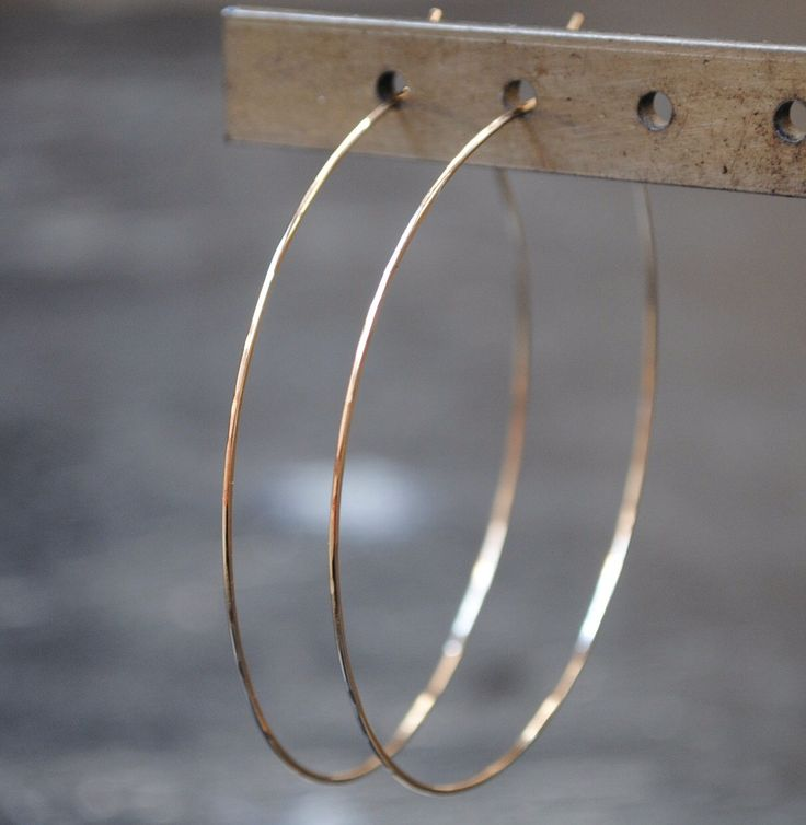 "Thin Gold Hoop Earrings, 2"", 2.5"", 3"", 3.5"" by TiffanyAnneStudios on Etsy https://www.etsy.com/listing/106718764/thin-gold-hoop-earrings-2-25-3-35"