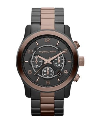 Michael Kors Men\'s Espresso and Gunmetal Stainless Steel Runway Chronograph Watch.